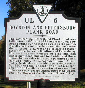 Boydton and Petersburg Plank Road Sign