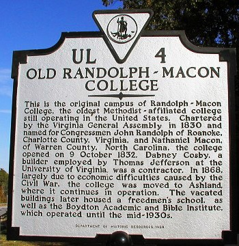 Old Randolph-Macon College Sign